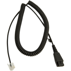 Jabra Quick Disconnect (QD) to Modular (RJ) Balanced Coiled Bottom Cord, 2 meter